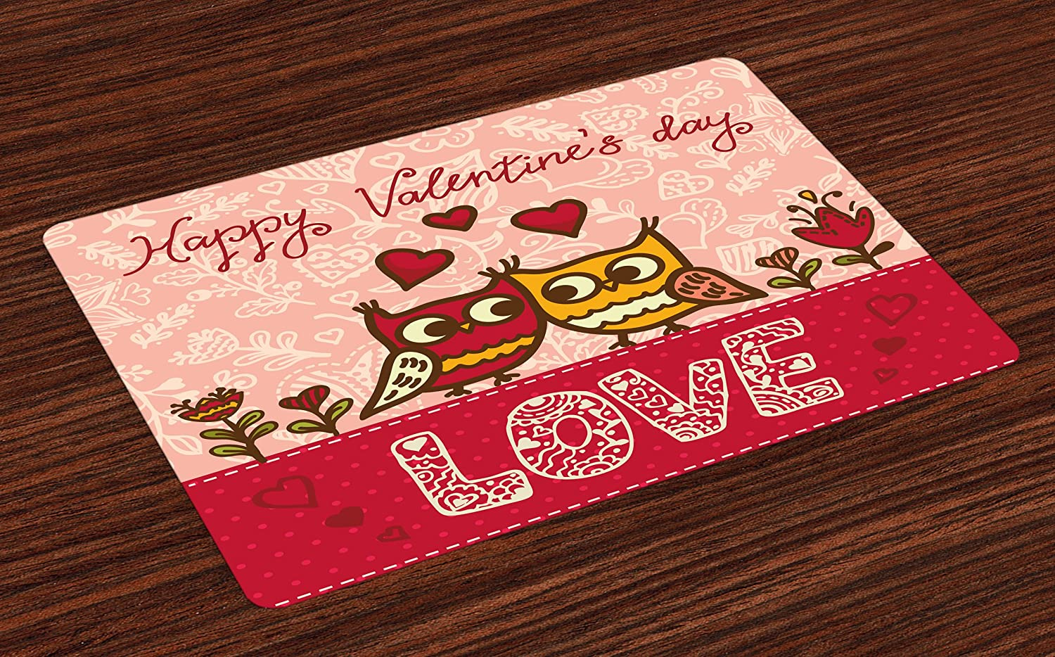 Ambesonne Valentines Day Place Mats Set of 4, Owls in Love Print Cute Partners Couples Boho Style Hearts Flowers Dots, Washable Fabric Placemats for Dining Room Kitchen Table Decor, Pink Red Yellow