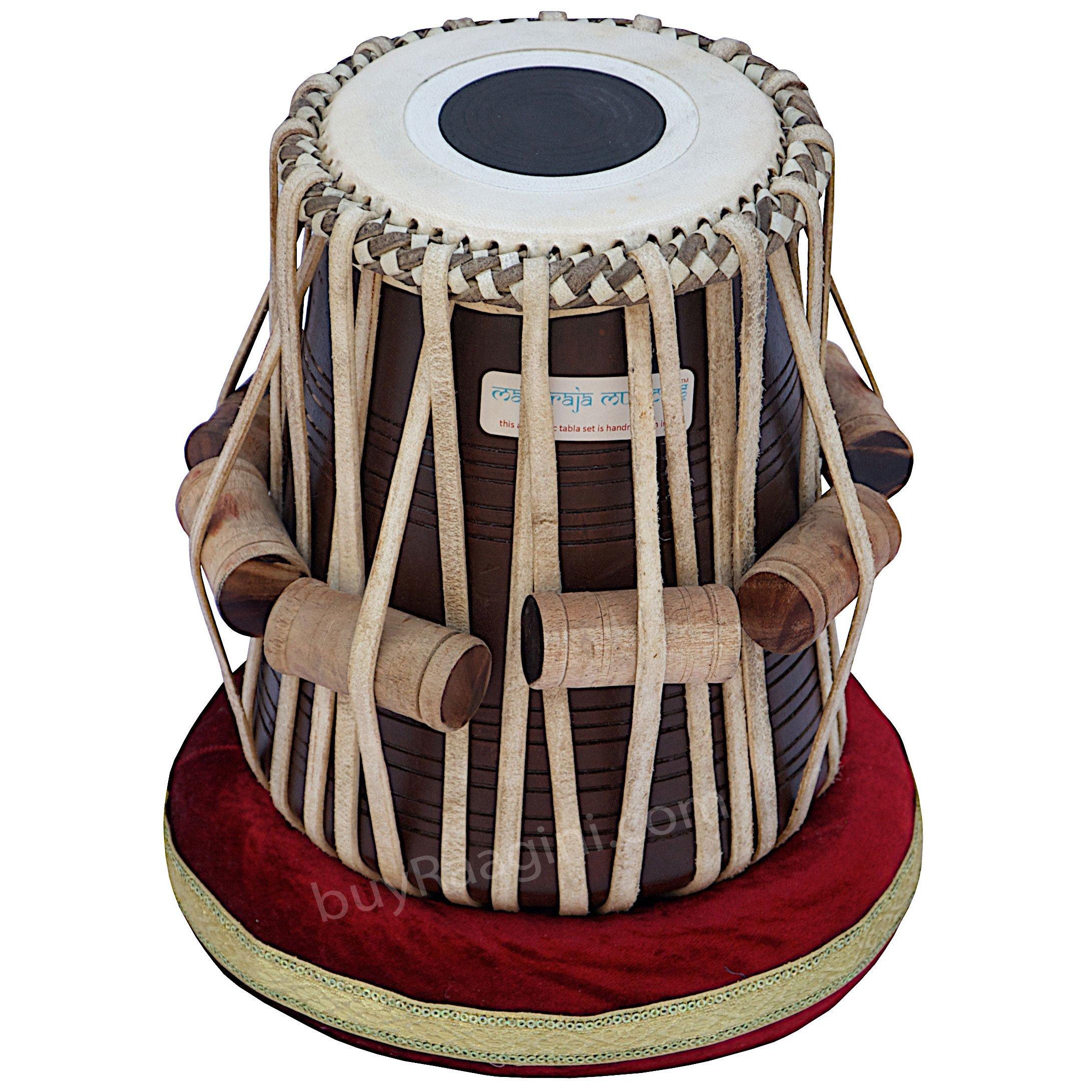Tabla Set, Maharaja Musicals, 3.5 Kg Designer Golden Brass Bayan, Sheesham Tabla Dayan, Professional Drums, Padded Bag, Book, Hammer, Cushions, Cover, Tabla Drums Indian (PDI-FG) by Maharaja Musicals (Image #4)
