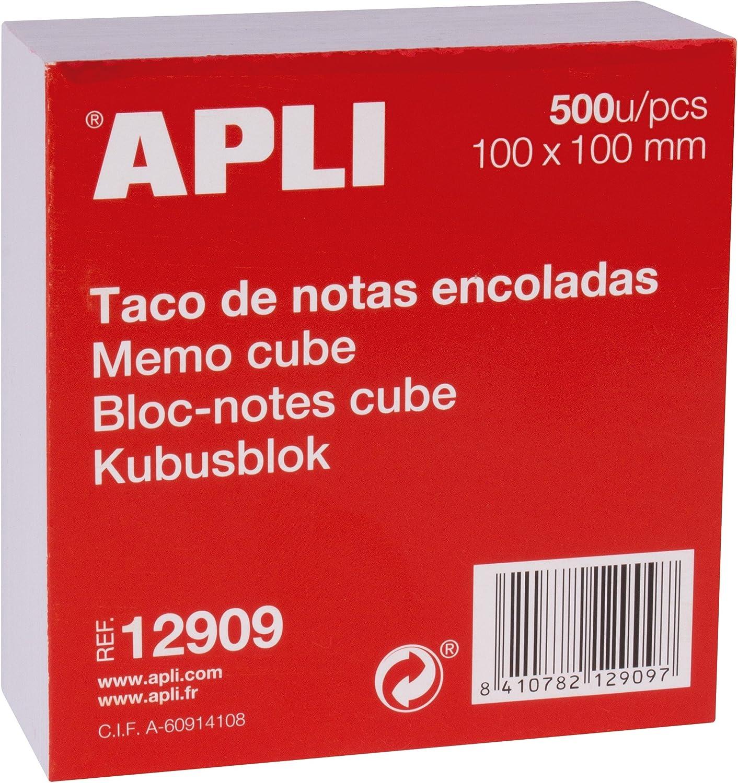 APLI 12909 - Taco de notas encoladas (100 x 100 mm) 500 hojas, Blanco