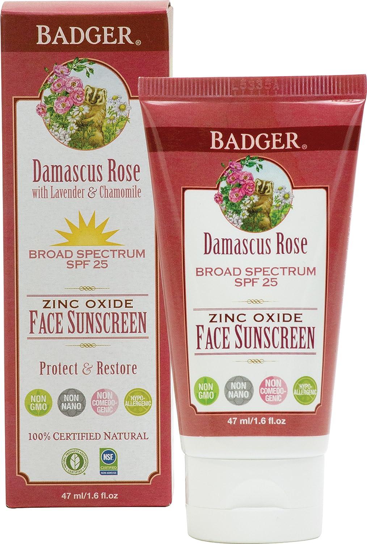 Badger Company, Zinc Oxide Face Sunscreen, SPF 25, Damascus Rose, 1.6 fl oz (47 ml) 634084490404