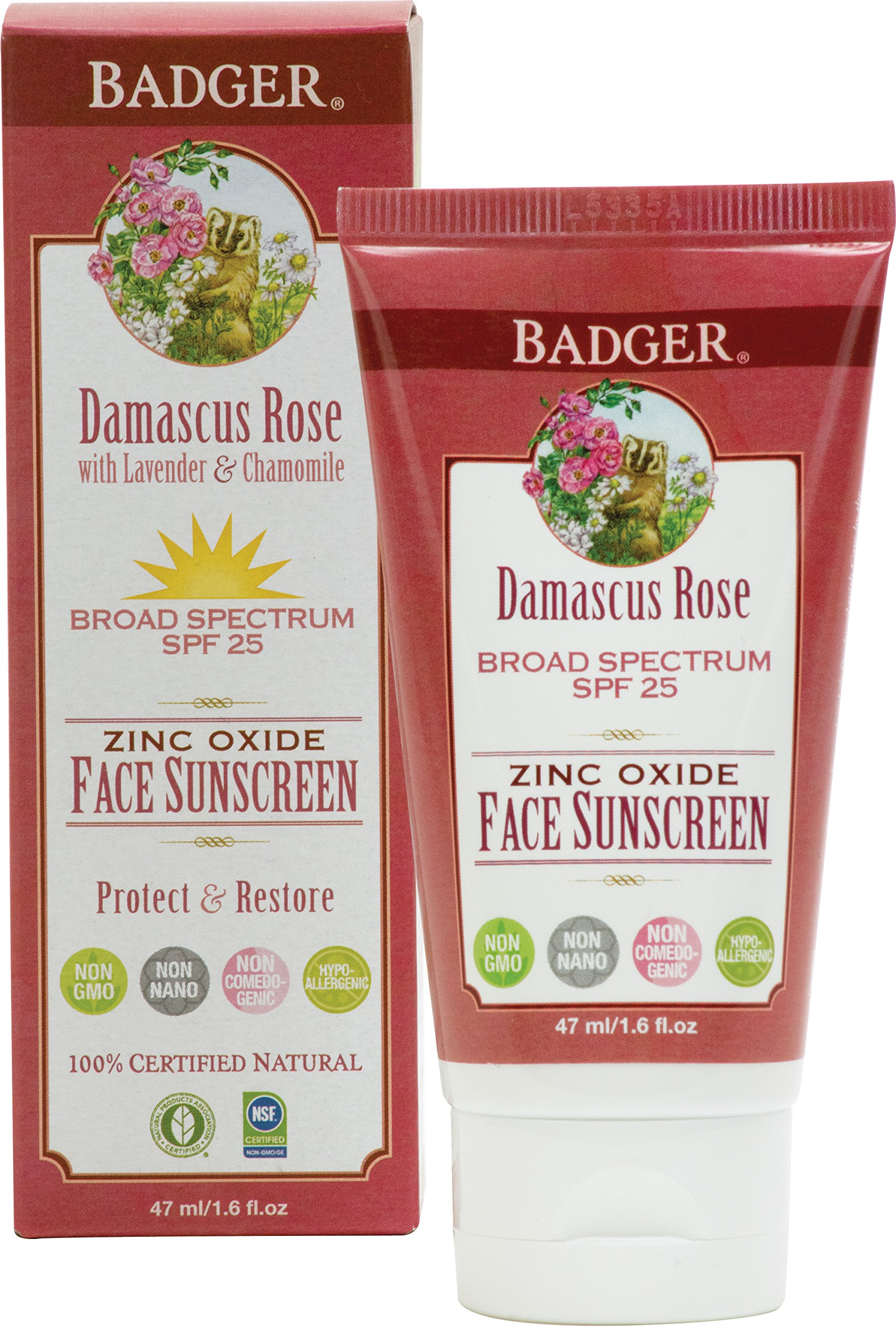 Badger Damascus Rose SPF 25 Sheer Tint Face Sunscreen Lotion with Lavender and Chamomile - 1.6 oz Tube