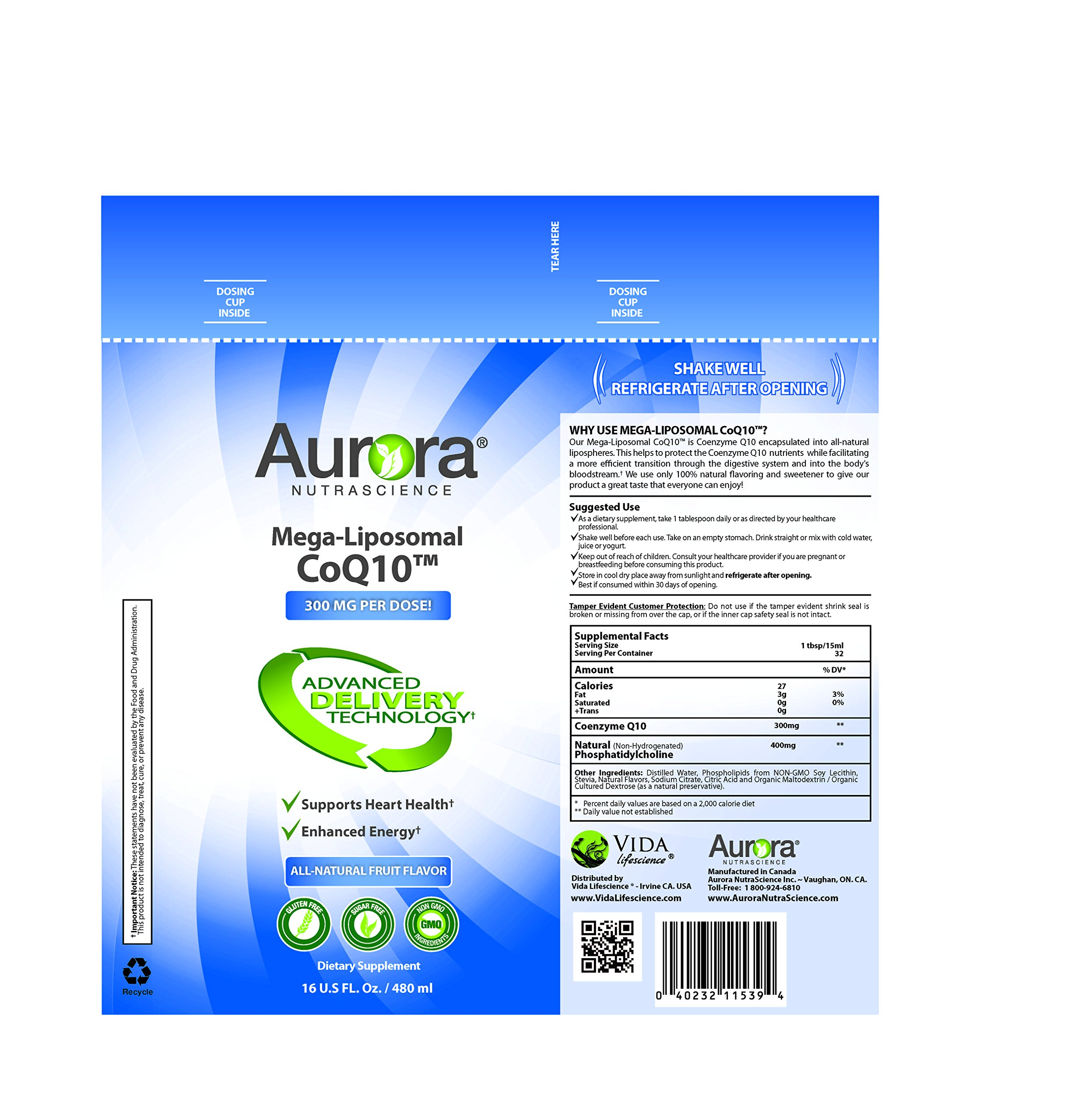 Aurora Nutrascience Mega Liposomal COQ10-16 oz
