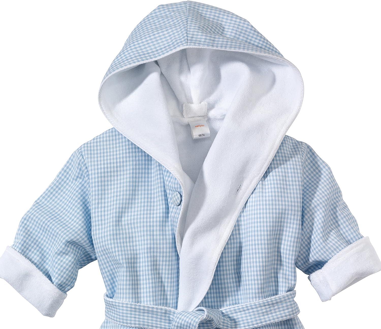 Wellyou Peignoir de bain pour enfant 100/% coton Motif vichy Bleu clair