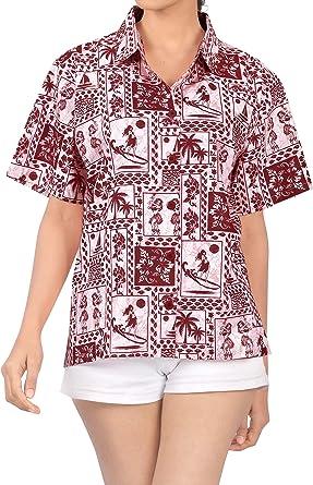 Palmera Hawaiano Camisas Impresas Blusas para Mujer de Manga Corta Negro Florales: Amazon.es: Ropa y accesorios