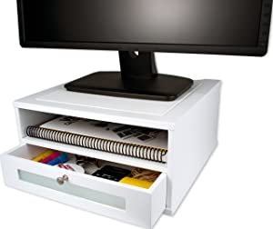 Victor Wood Monitor Riser, W1175 (Pure White)