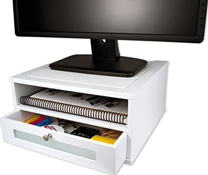 Wood Monitor Stand Riser With Pull Out Drawer Side Partments White
