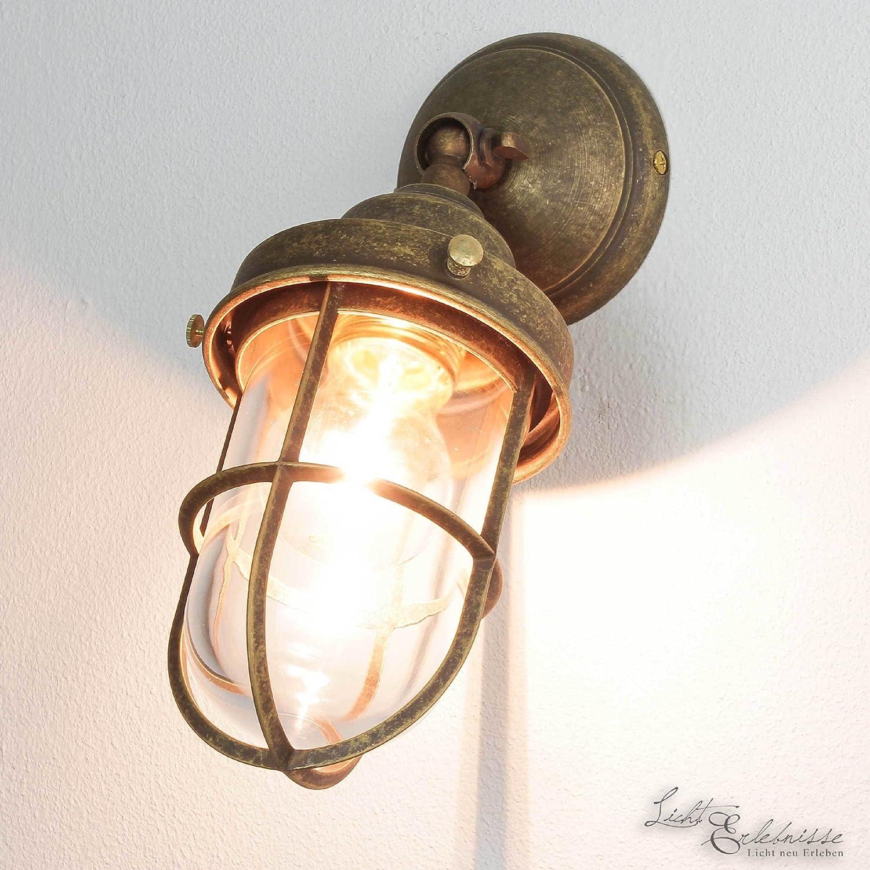 Außenleuchte Messing Premiumqualität Bronze Antik Glasschirm Handarbeit E27 Wandlampe Außenwandleuchte Licht-Erlebnisse