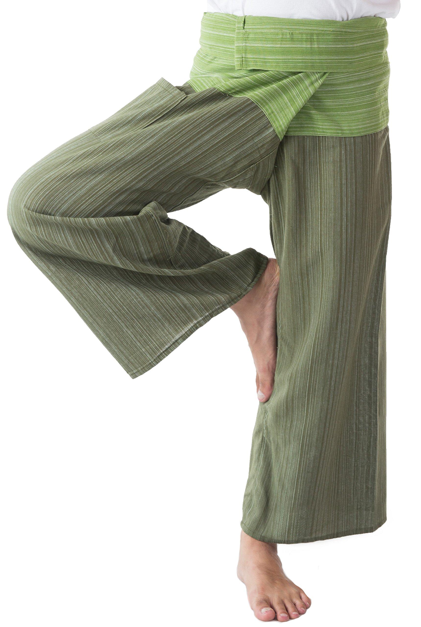 MEMITR Thai Fisherman Pants Men's Yoga Trousers Dark Green and Green 2 Tone Pant