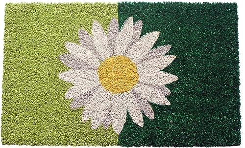 Evergreen Kensington Coir Mat Set, Coir Mat Size 28.25 W x 9.25 H, Scroll Switch Mat Tray 30 W x 18 H, Monogram – Letter F