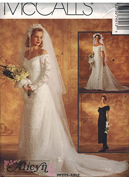 c2a70085c6 Amazon.com  7451 McCalls Sewing Pattern Uncut Misses Wedding Dress Bridal Gown  Size 8  Arts