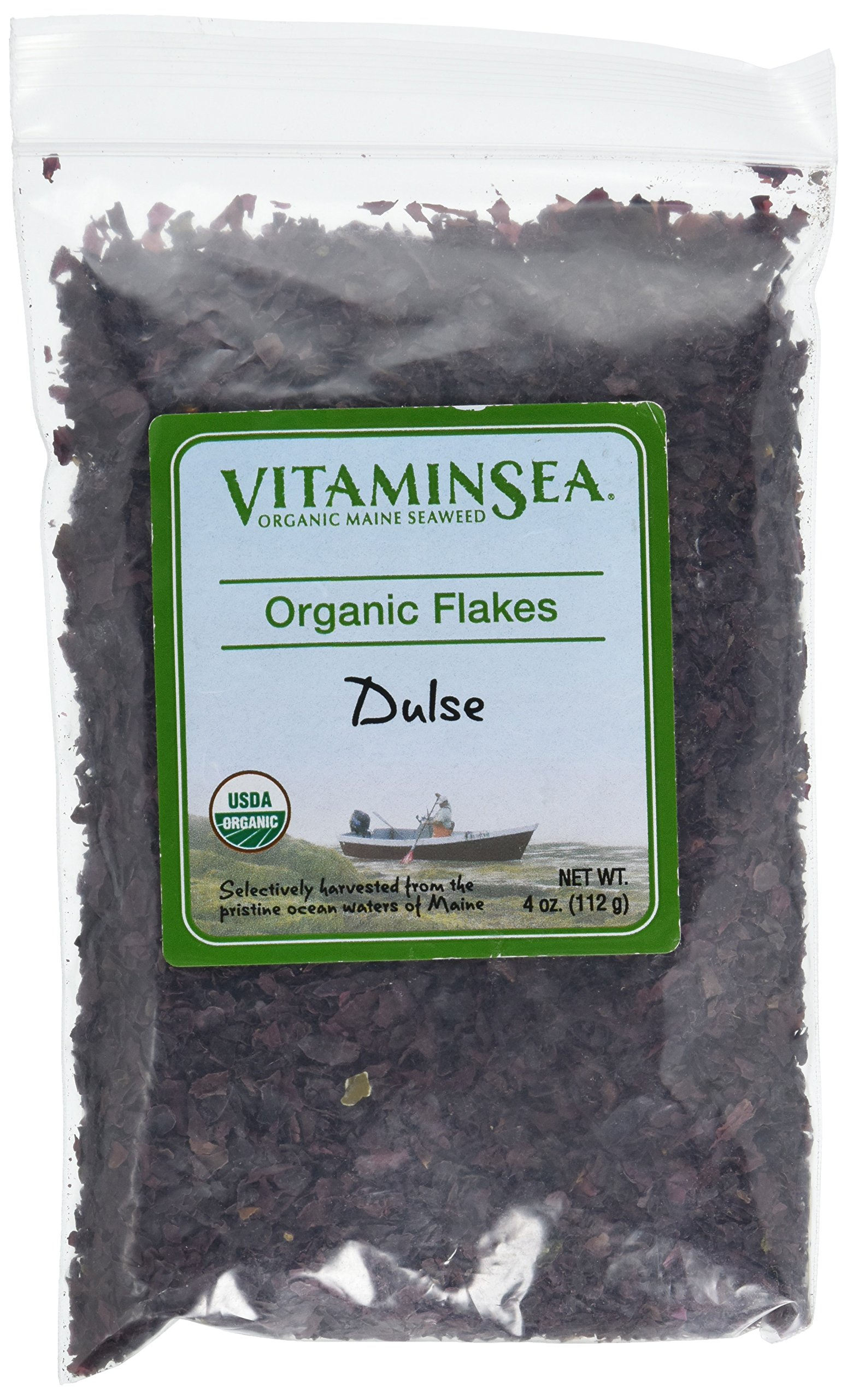 Organic Dulse Flakes Maine Seaweed - 4 oz bag - USDA & Vegan Certified - Kosher - Hand Harvested from the Atlantic Ocean Coast - Sun Dried Raw and Wild Sea Vegetables VitaminSea (Dulsd flks 4 oz)