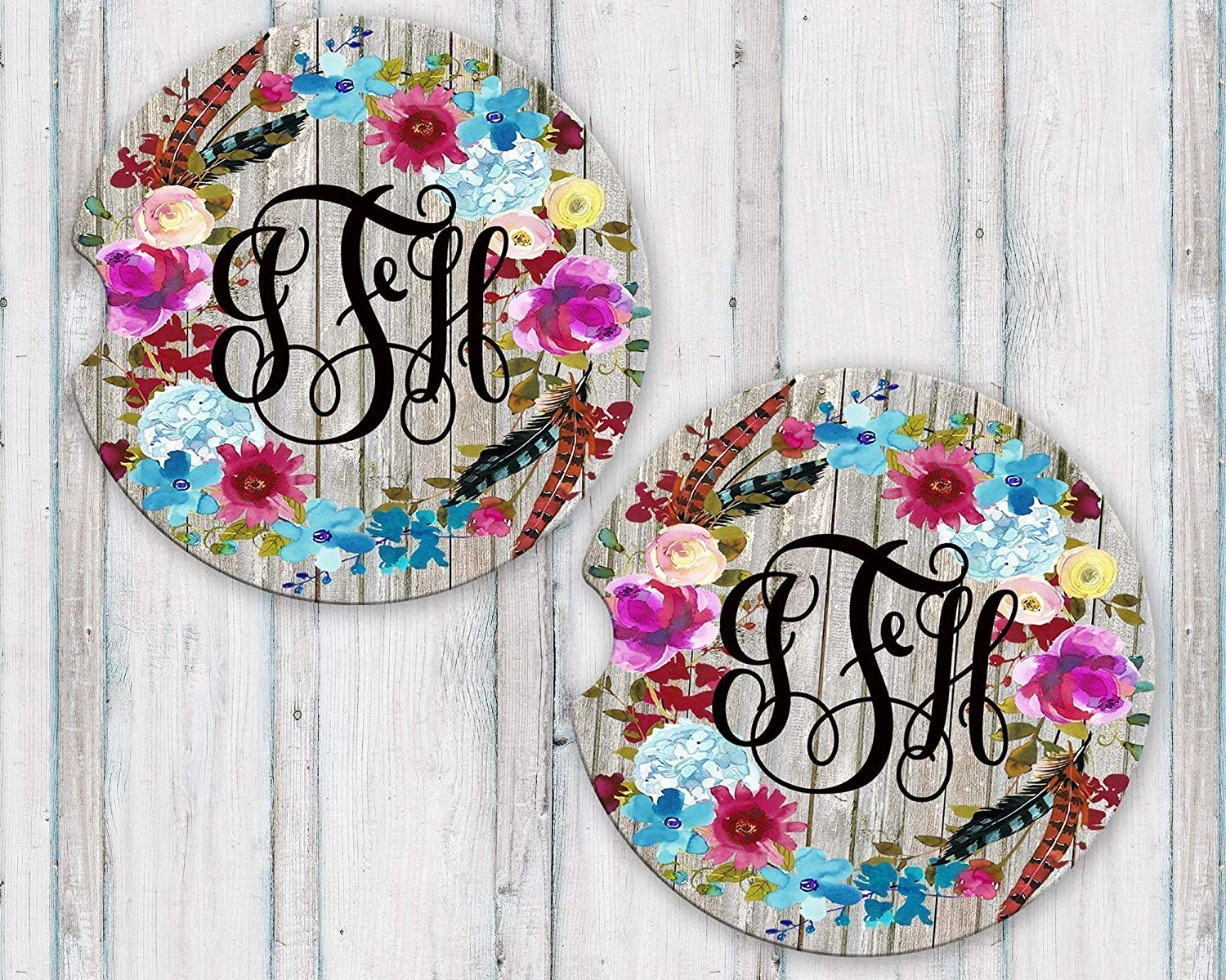 Personalized Monogram Sandstone Car Coasters Boho Floral Wreath Grey Barn Wood Background Set of 2