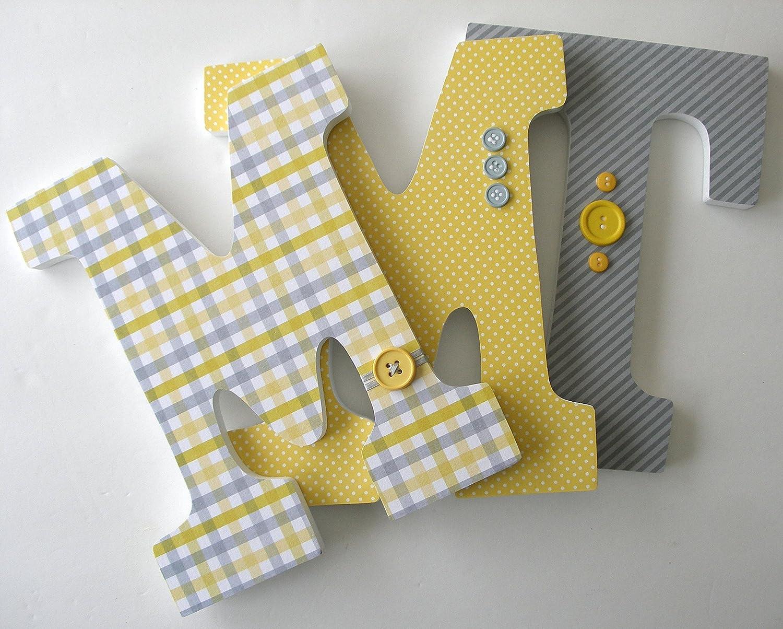 Amazon.com: Yellow and Gray Custom Wooden Letters, Grey Baby Girl ...