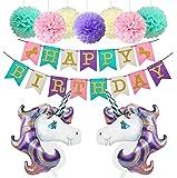 Happy Birthday Girlande Einhorn Luftballon Deko Party Zubehör Kinder Geburtstag Set Stoff Banner Ballons Dekoration (Lavendel)