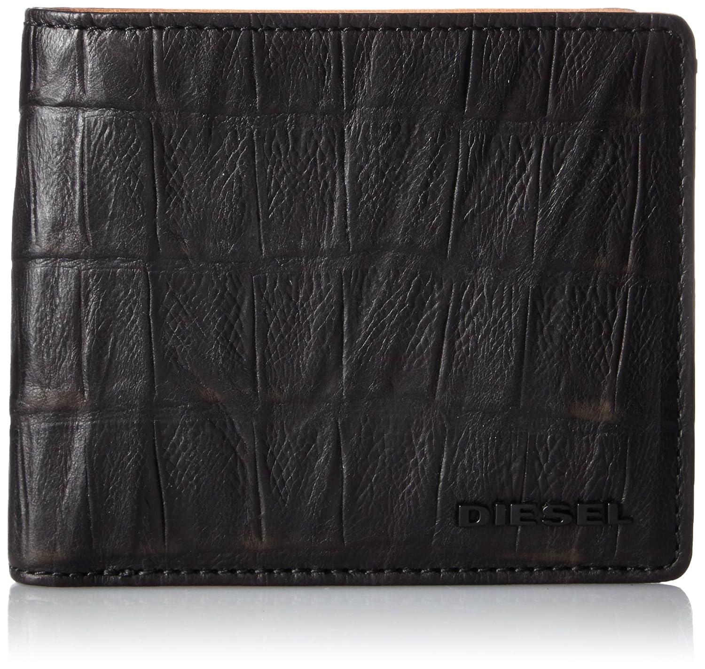 (ディーゼル) DIESELメンズ 二つ折り財布 CROCO LEATHER HIRESH S - wallet B017X8Q6Q8 UNI(FREE サイズ)|ブラック ブラック UNI(FREE サイズ)