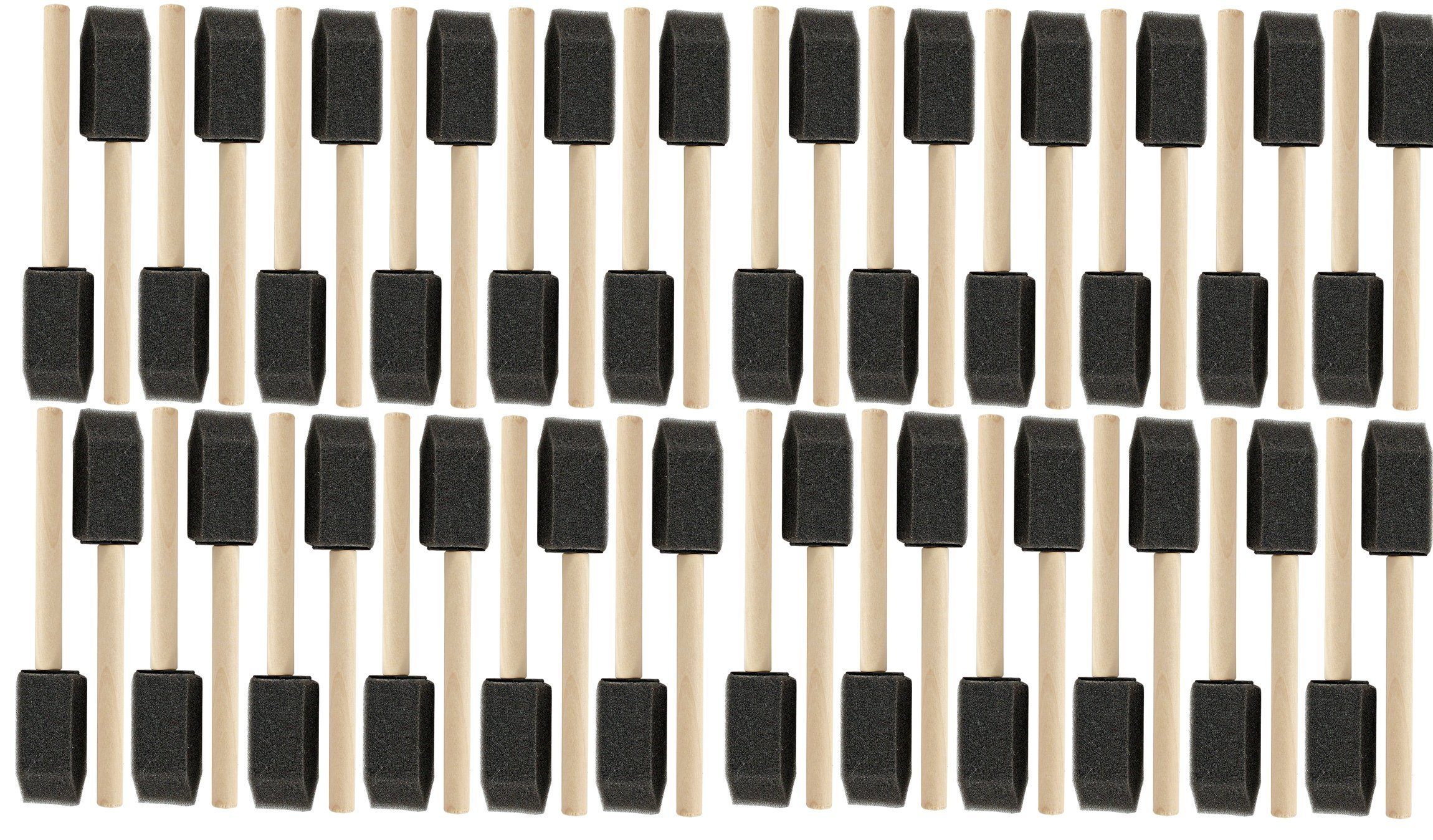 1'' Wooden Handle Poly Foam Brushes 48 PC Set All 1''. Great for crafts, touch ups, art, paints, stains, ((10PK)1'' Wooden Handle Poly Foam Brushes 48 PC Set)