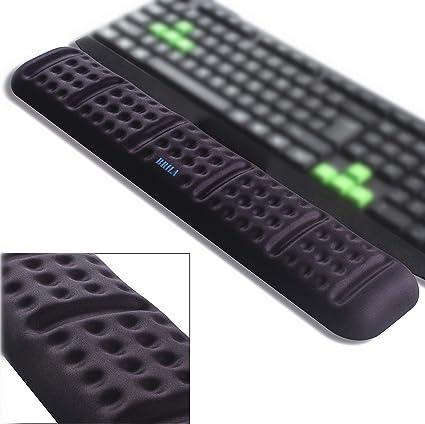 BRILA - Cojín ergonómico para teclado y reposamuñecas, cómodo y suave espuma viscoelástica acolchado de gel antideslizante para teclado grande para ...