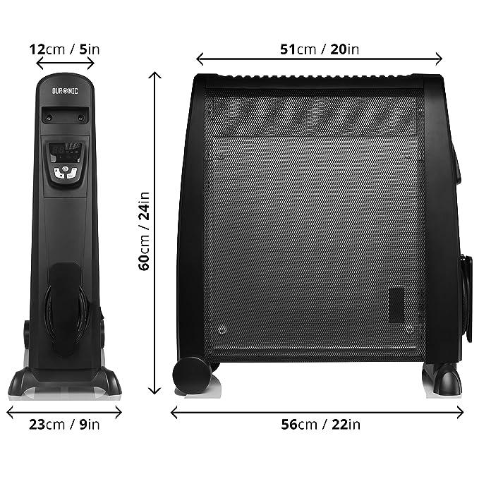 Duronic HV102 Calefactor Radiador Eléctrico Bajo Consumo con Panel de Mica de 2500 W, Termostato Digital y Mando a Distancia, Paneles Calefactores Libre De ...