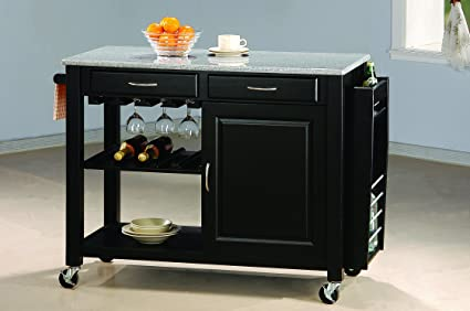 Kitchen Cart With Granite Top Black
