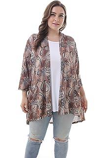 995e3da2815162 ZERDOCEAN Women's Plus Size 3/4 Sleeve Lightweight Soft Printed Drape  Cardigan with Pockets