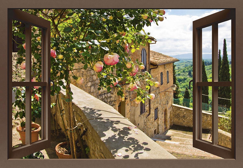 Artland Qualitätsbilder I Bild auf Leinwand Leinwandbilder Wandbilder 100 x 70 cm Landschaften Garten Foto Grün B8CS Rosen Balkon San Gimignano Toskana