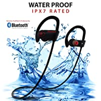 INSPIRE Wireless Bluetooth Earphones - Noise Cancelling Running Headphones with Mic, IPX7 Waterproof & Sweatproof Sports In-Ear Earbuds - Genuine Bluetooth Certified - Best Sports Headphones - Bonus Carry Pouch (Black)