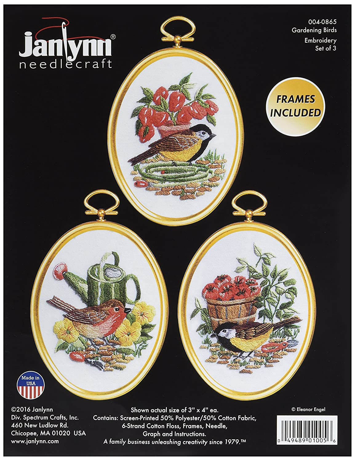 Janlynn 004-0865 Gardening Birds Embroidery Kit Set of 3 3 x 4 Stitched in Floss