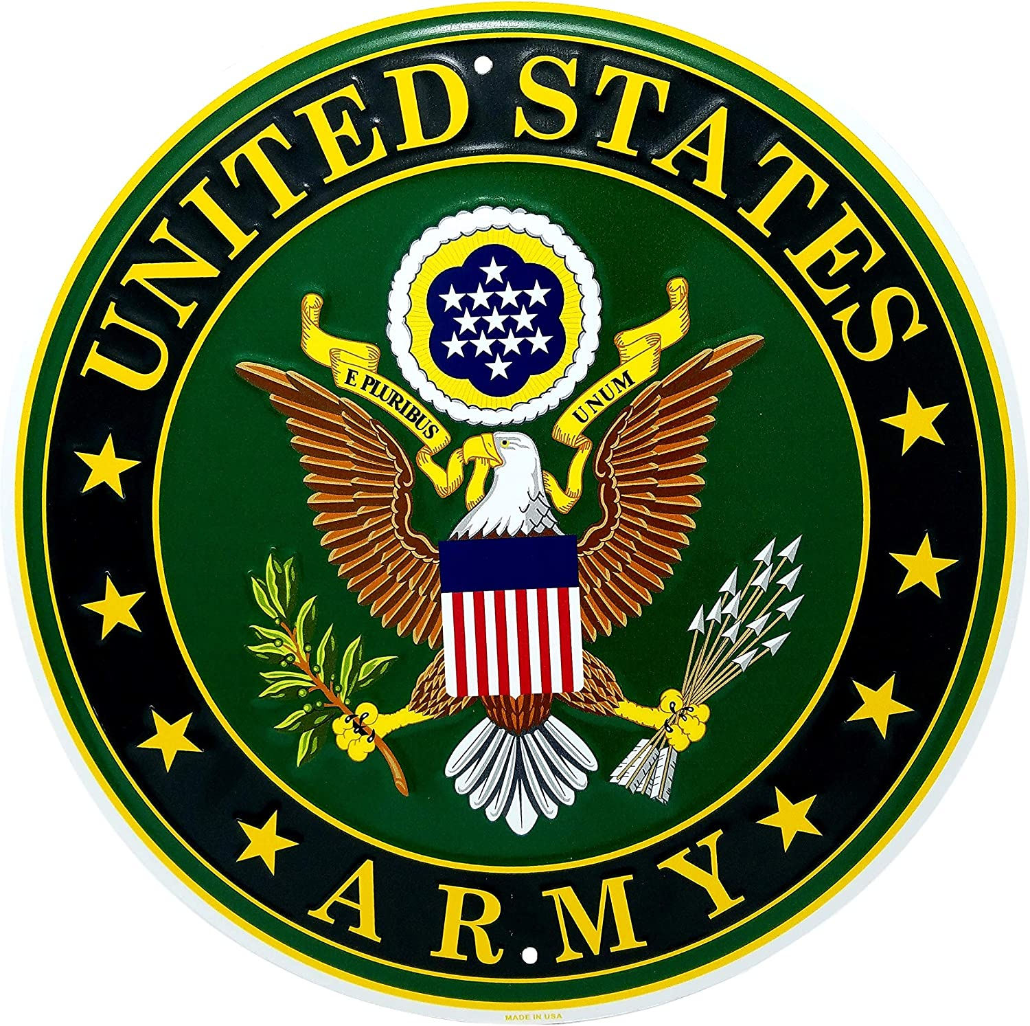 """Ramsons Imports U.S. Army Emblem 12"""" Round Metal Sign, Made in USA"""