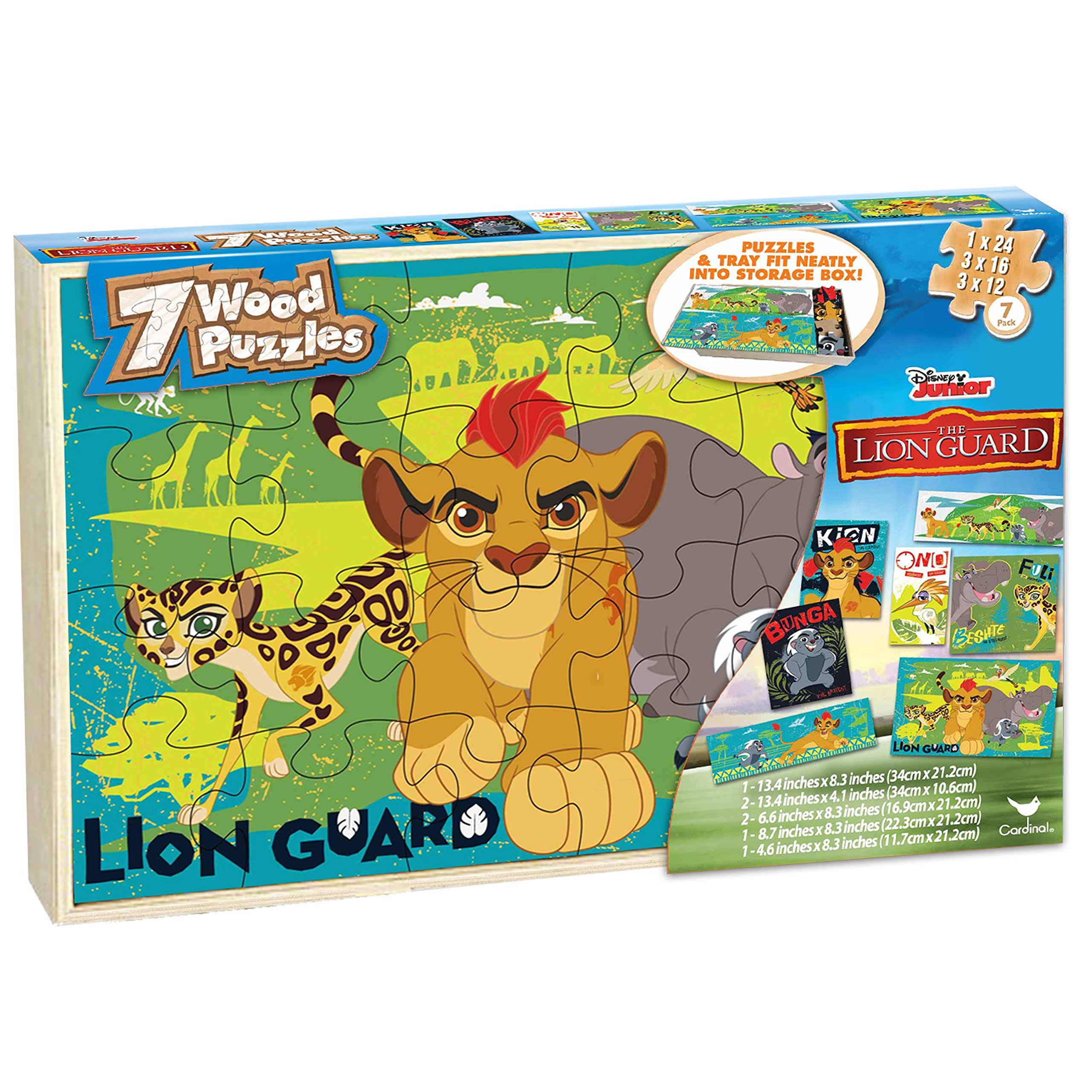 Disney Lion Guard 7 Wood Puzzles In Wooden Storage Box (styles will vary)
