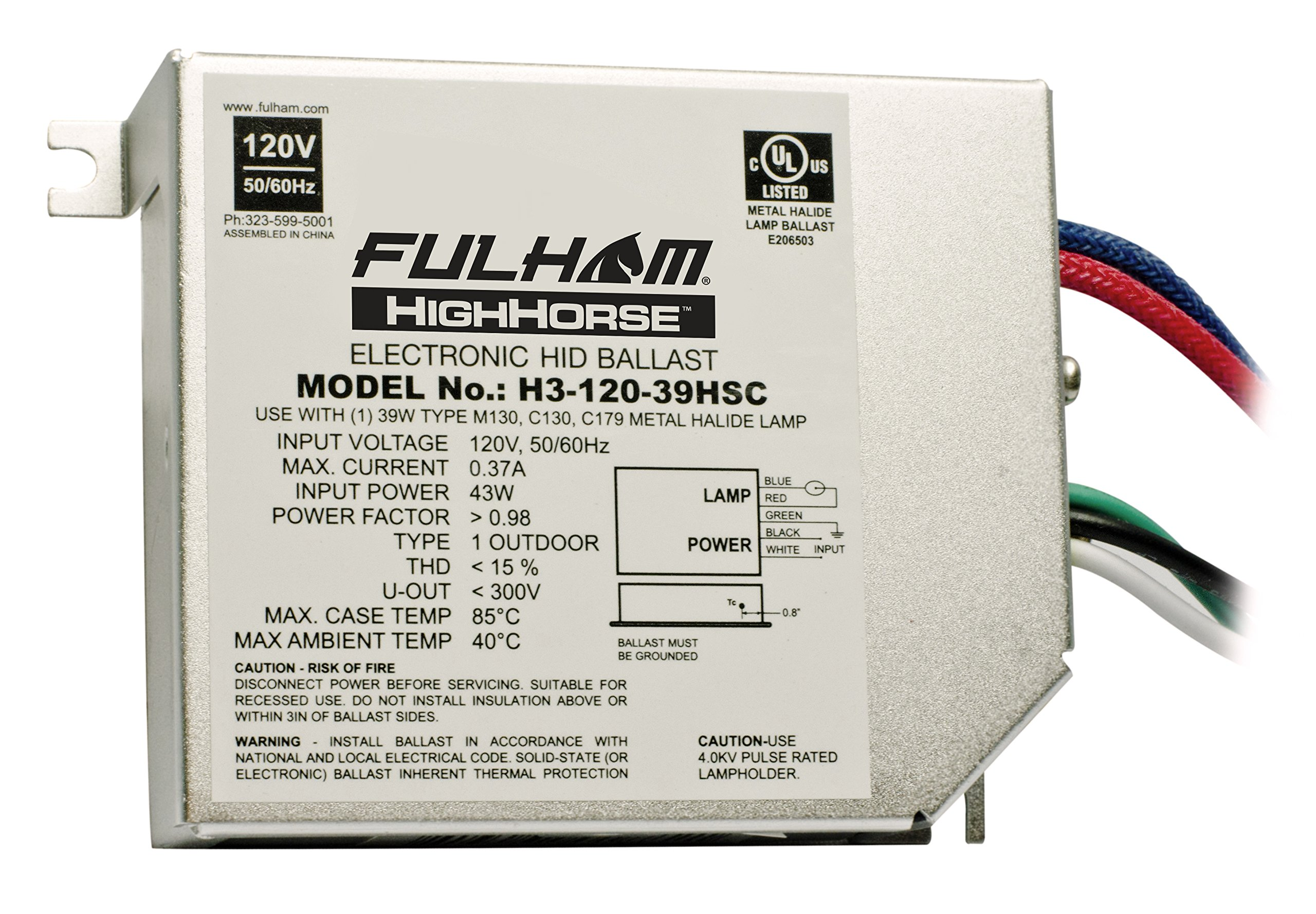Fulham H3-120-39HSC HighHorse Low Frequency Electronic HID Ballast, 39-watt