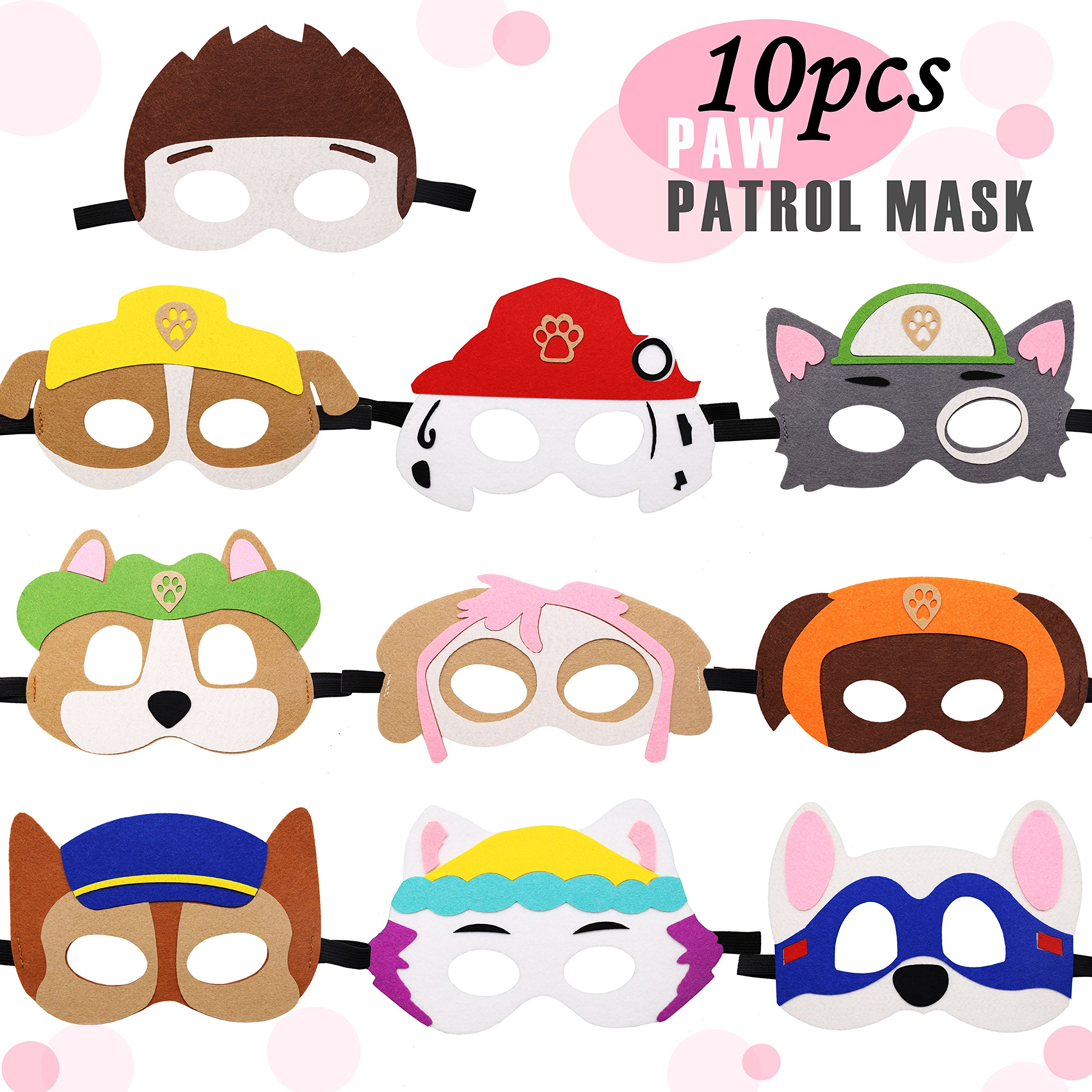 8 Pack PAW Patrol Kids Birthday Party Masks Rubble Chase Skye Marshall