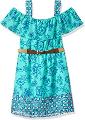 c2d920ee2b62 My Michelle Girls  Big Multi Print Cold Shoulder Dress with Ruffle Top and  Belt