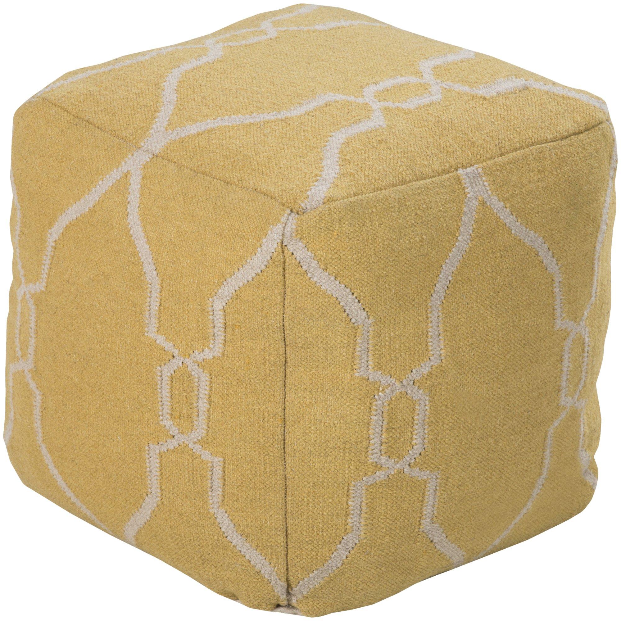 Jill Rosenwald by Surya POUF-22 Hand Made 100% Wool Ivory 18'' x 18'' x 18'' Pouf