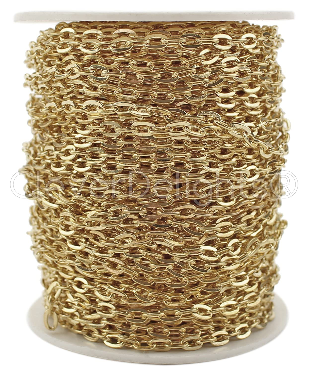 CleverDelights Cable Chain Spool - 100 Feet - Champagne Gold Color - 4x6mm Link - Rolo Chain Bulk Roll by CleverDelights   B01BXCHFKG