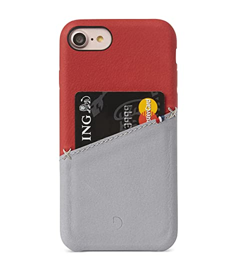 sports shoes dc409 59d3e Decoded Premium Full-Grain Leather Back Cover for iPhone 8 / 7 / 6s / 6  (Red / Grey)