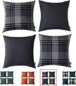 HPUK Set of 4 Buffalo Check Plaid Throw Pillow Cover Retro Farmhouse Pillowcase Square Cushion Cover for Couch, Sofa, Bed, Office, Home, Outdoor, 17 x 17 inch, Grey