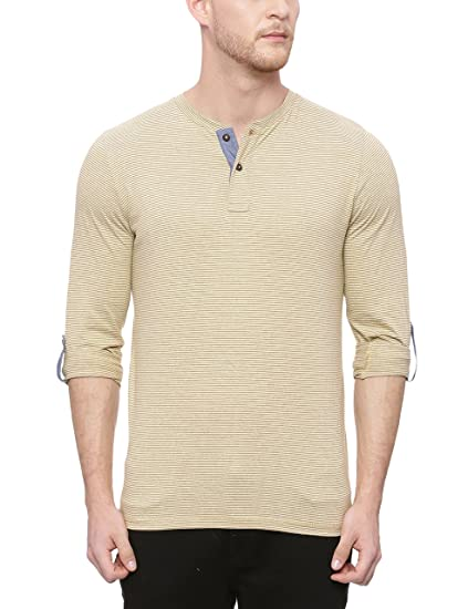 d35932795945 BASICS Muscle Fit Tapenade Khaki Henley T Shirt_S: Amazon.in ...