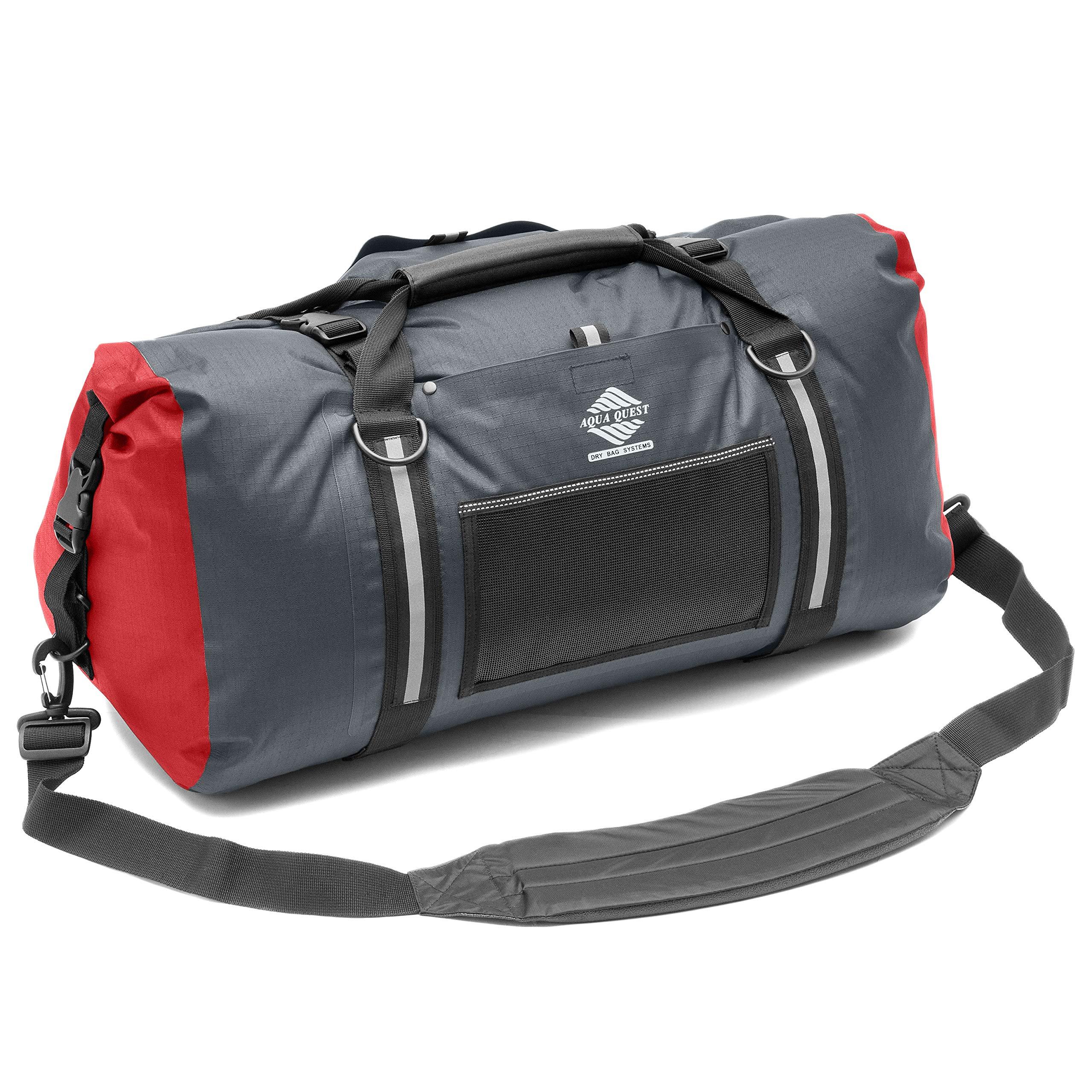 Aqua Quest White Water Duffel - 100% Waterproof 50 L Bag - Lightweight, Durable, External Pockets - Charcoal