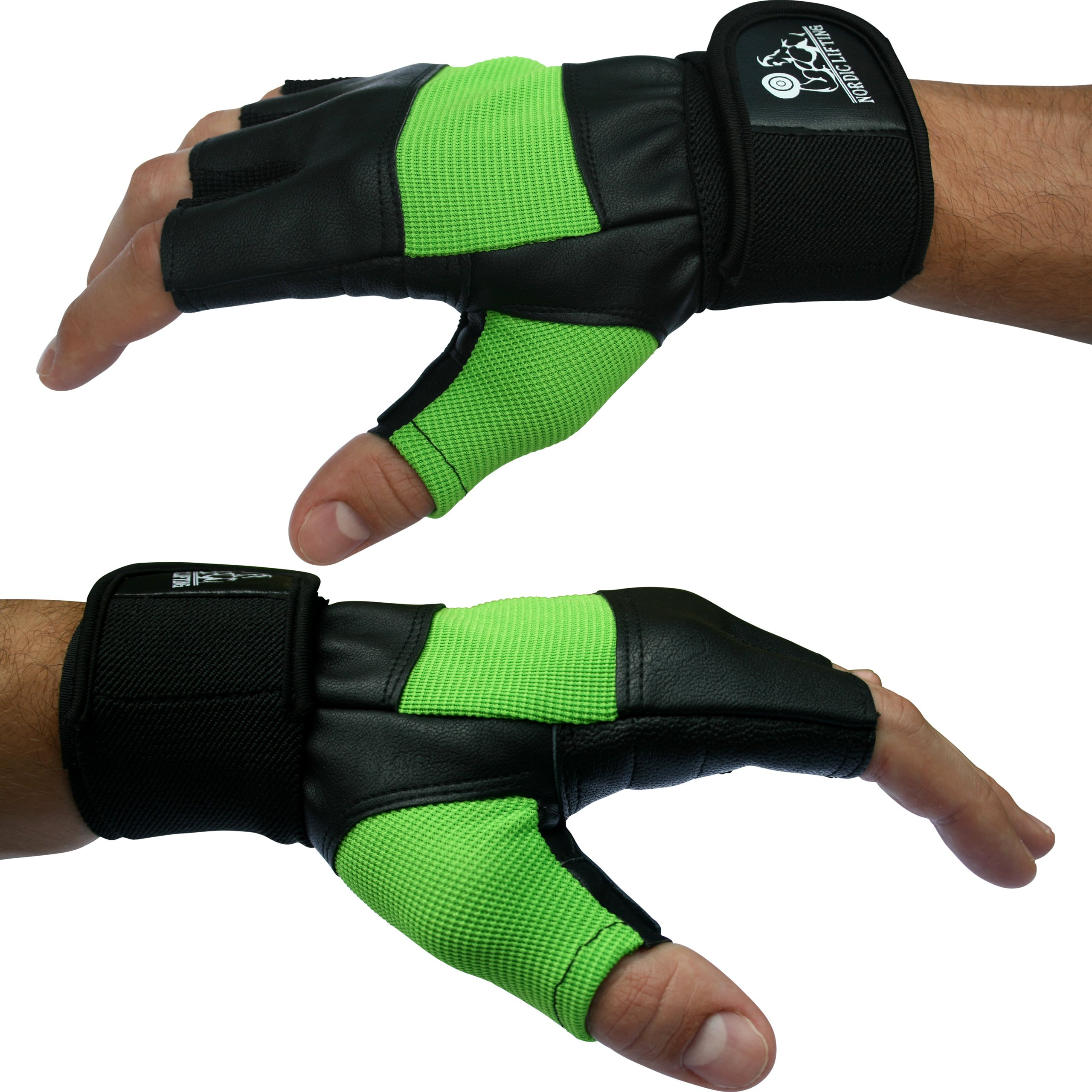 Weight Lifting Gloves with 12'' Wrist Support for Gym Workout, Weightlifting, Fitness & Cross Training - Best for Men & Women - by Nordic Lifting&Trade -(Green,Medium)-1 Year Warranty by Nordic Lifting