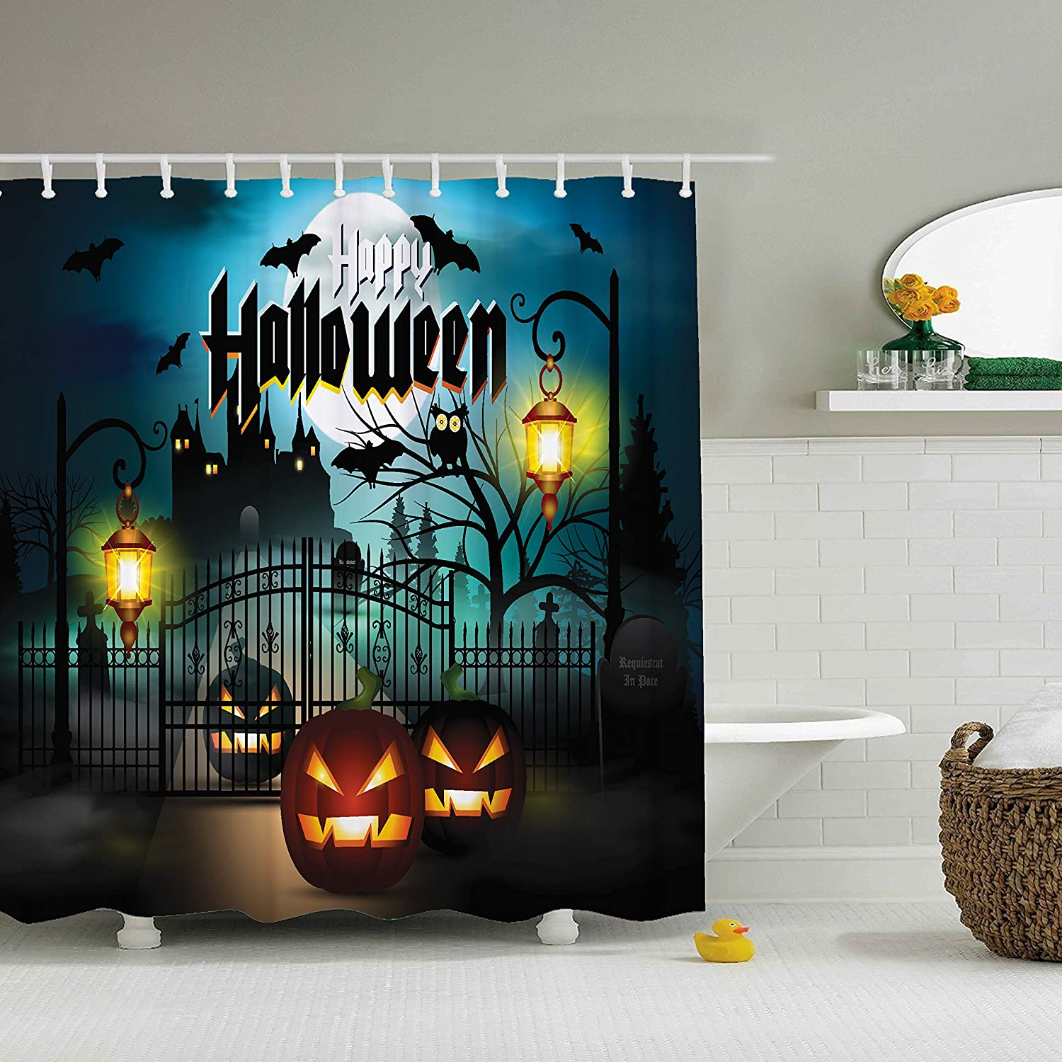 ZBLX Halloween Shower Curtain Waterproof Mildew Resistant Fabric Polyester 100% Shower Curtain.