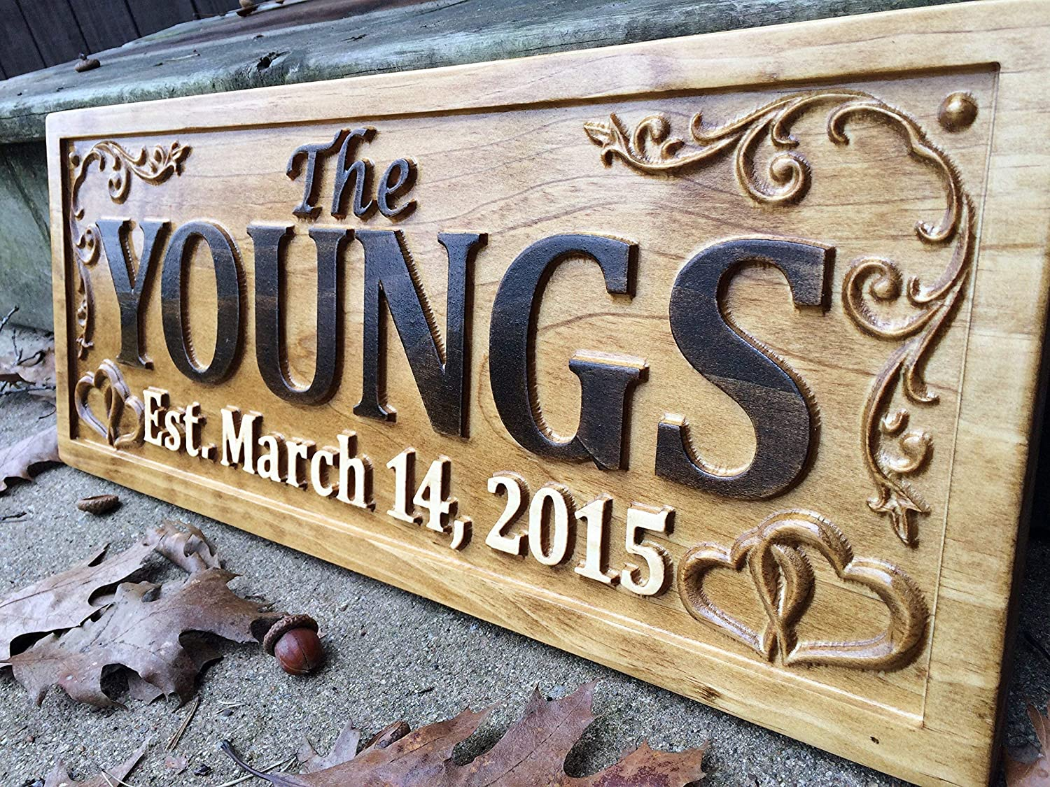 Amazon com personalized family name sign wedding gift custom carved wooden signs last name décor established wood plaque 3d engraved couple 5 year