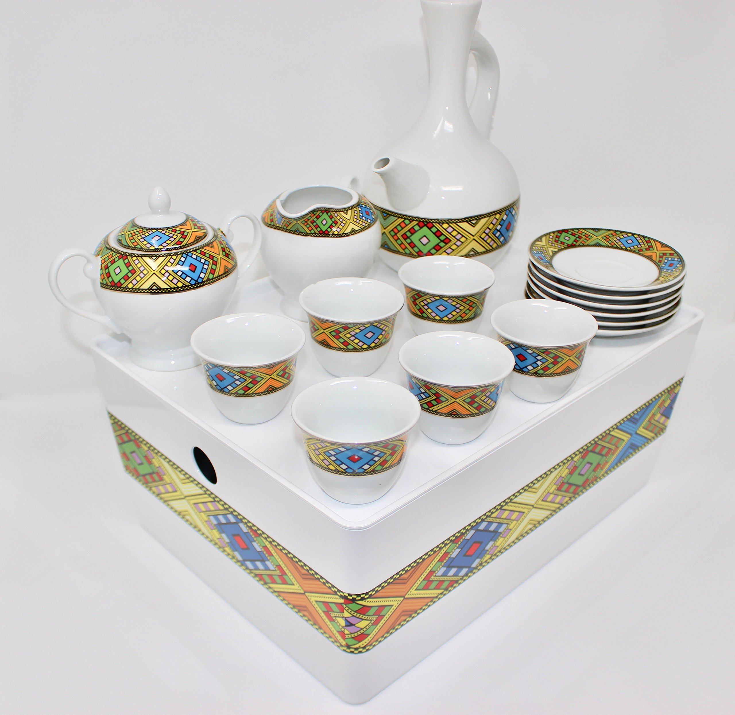 Ethiopian/Eritrean Coffee Cups with Rékébot, Abyssinian Coffee cups, Jebena, Rekebot, Ethiopian art, Eritrean Coffee, Habesha Coffee, Ethiopian Coffee ceremony, Full coffee Set by EthioDesigns (Image #2)