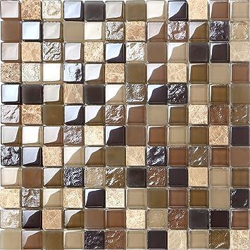 Glas Naturstein Mosaik Fliesen Beige Braun