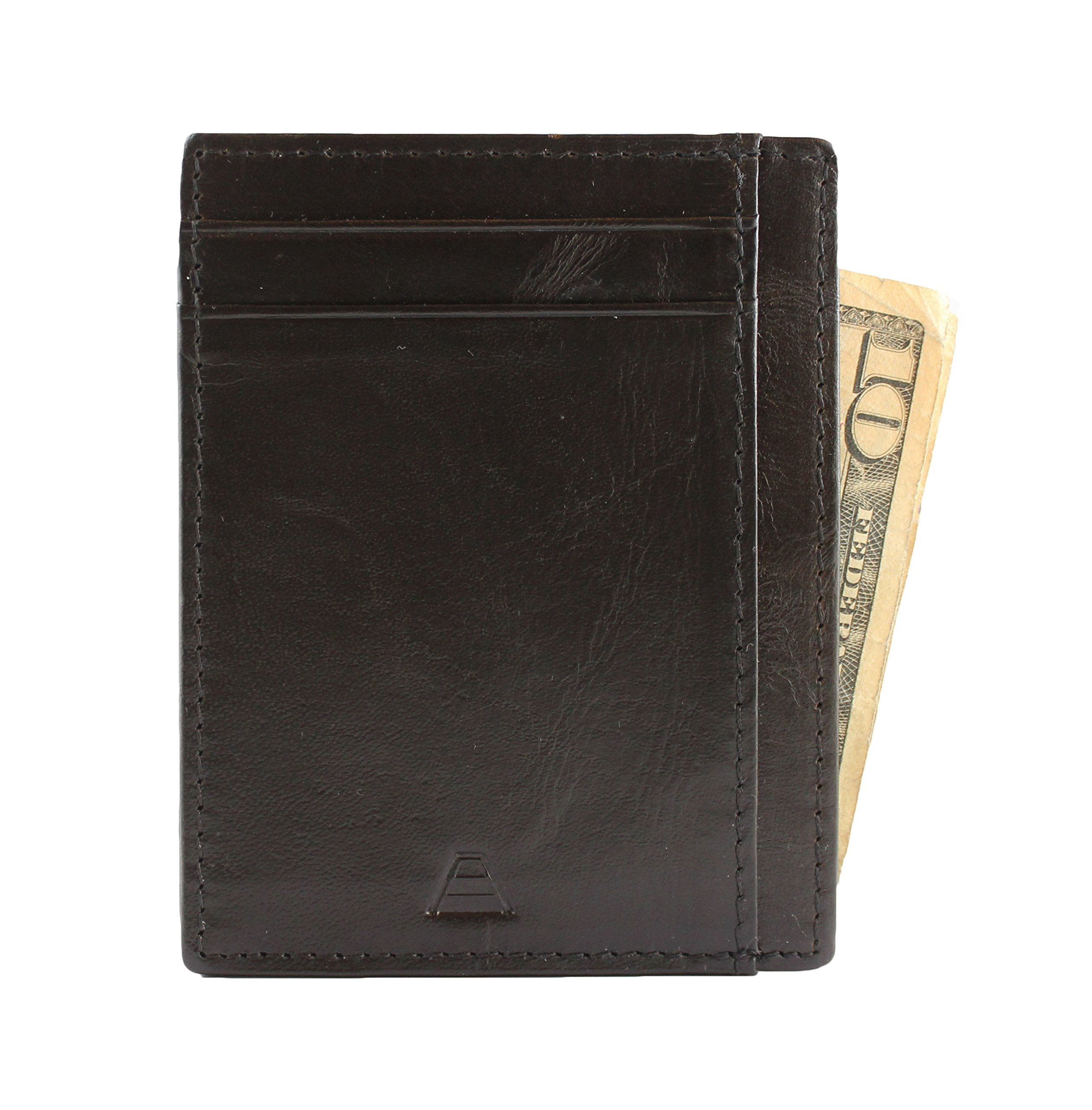 Andar RFID Minimalist Front Pocket Wallet - Made of Classy Full Grain Leather (Black) by Andar (Image #6)