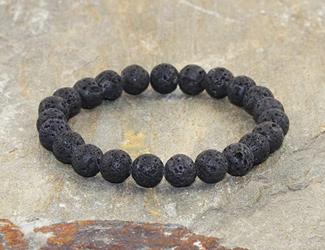 Amazon.com: 8mm Volcanic Lava Stacking Bracelet, Mens ...