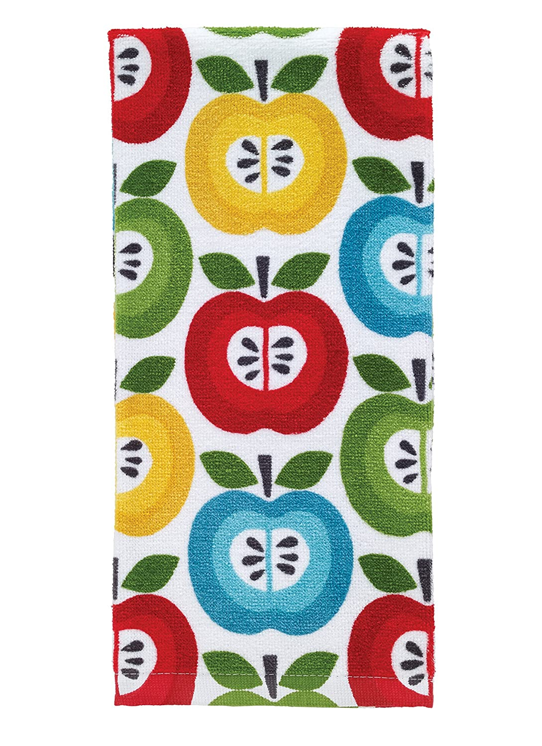 "T-Fal Textiles 100% Cotton Fiber Reactive Printed Kitchen Dish Towel, 19"" x 28"", Apples Print"