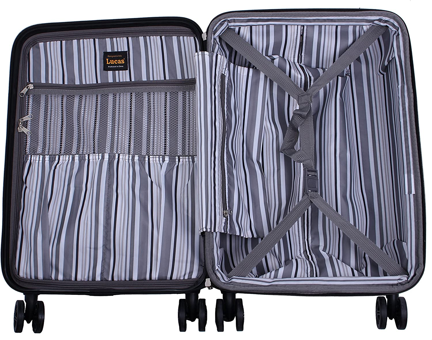 Hardside Suitcase Expandable Large Size Checked Bag with 8-Rolling Spinner Wheels 31in, Stratus Olive Lightweight Scratch-Resistant Lucas 31 Inch Designer Luggage Collection ABS + PC