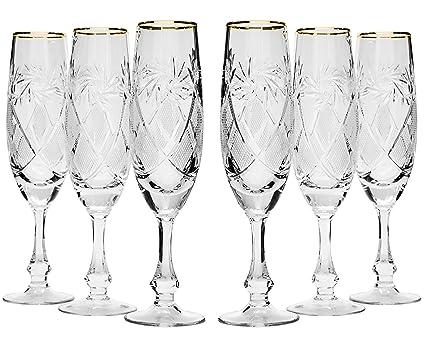cccd5b8faae1 Neman GB6874G, 5.7 Oz (170 ml) Hand-Made Crystal Champagne Flutes,