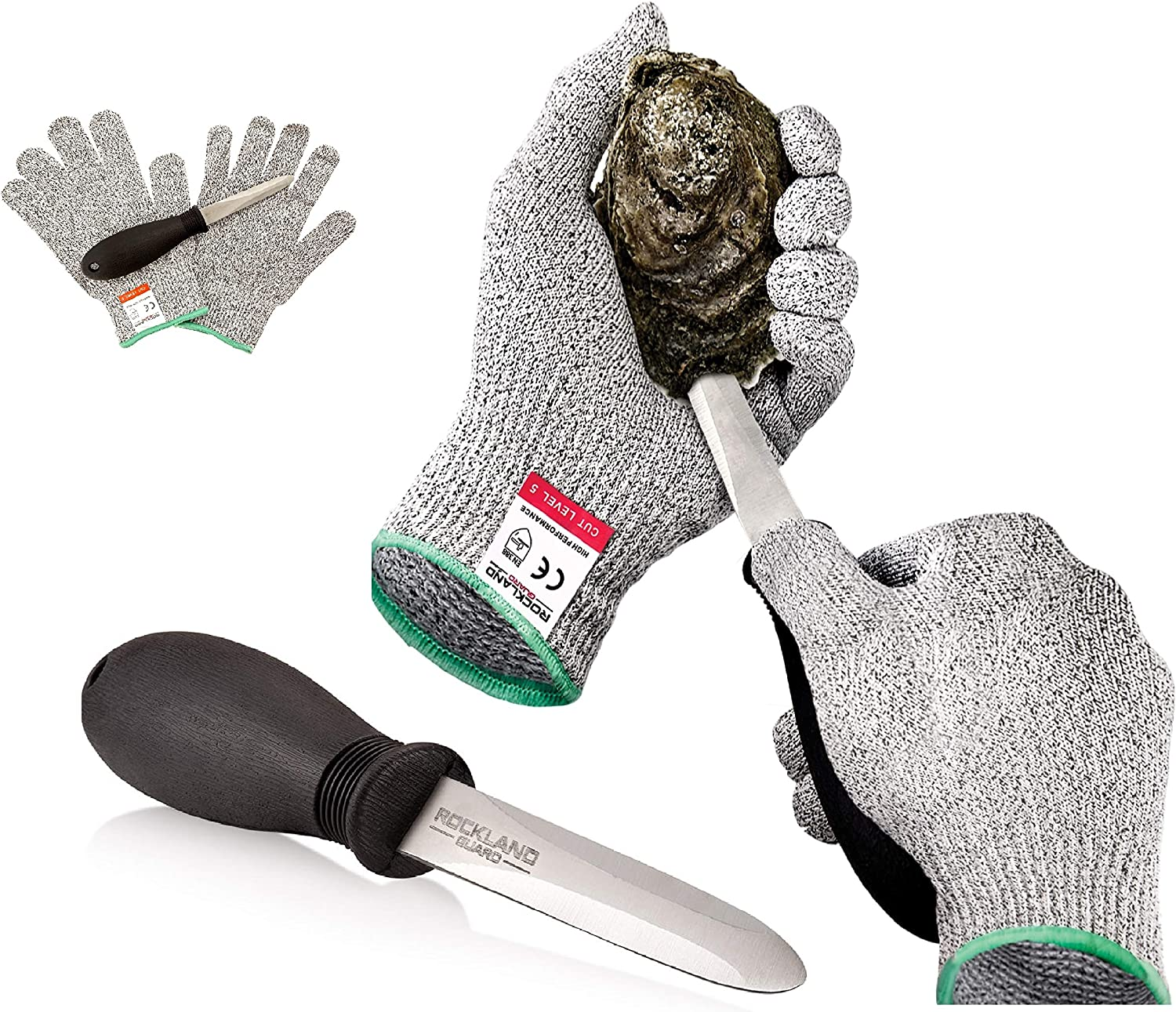 Rockland Guard Oyster Shucking Set- High Performance Level 5 Protection Food Grade Cut Resistant Gloves with 3.5'' Stainless steel Oyster Knife, perfect set for shucking oysters