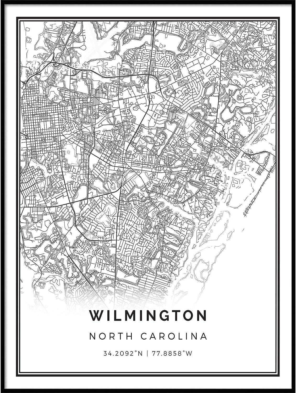 Squareious Wilmington map Poster Print | Modern Black and White Wall Art | Scandinavian Home Decor | North Carolina City Prints Artwork | Fine Art Posters 20x30